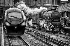 """""""Past and Present"""" (Pensioner Percy, very slow at the moment) Tags: nikon railways carlisle trainspotting steamtrain virgintrains britishrailways pendolino railline westcoastline 44871 carlislestation stanierblack5 d7100 steamcharter settleandcarlisleline nikon18140mmlens"""