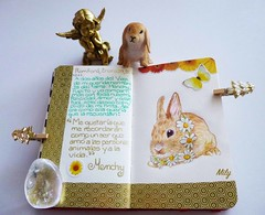 For my soul sister : ))) (Milagritos9) Tags: angel butterfly gold drawing daisy artistjournal illustratedjournal cutebunnies bunnywithflowers washitape bunnyportrait conejitoadorable pupitorabbit minimoleskinediary