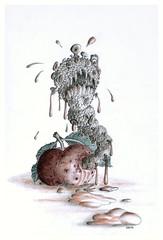 Apple worm (Karwik) Tags: apple pencil pencils drawing crayons worm jabko robal owek rysunek robak olowek