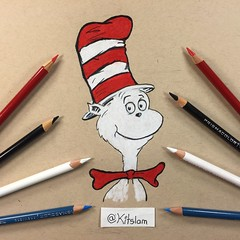 Cat in the Hat Drawing   Dr. Seuss   Two Hand Drawing (Kitslam's Art) Tags: two art childhood illustration cat wow children amazing kitten kat feline artist hand drawing dr character awesome cartoon kitty seuss story memory imagination draw whoa drseuss colourpencil challenge artis colorpencil catinthehat prisma memor ambidexterity pencilcolour ambidextrous artchallenge pencilcolor prismcolor haded drawign twohand kitslam ambidextrousart