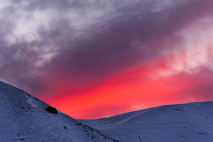 Red Light Stream (luca_pictures) Tags: winter light sunset red sky italy sunlight snow mountains cold nature beauty clouds rays umbria castelluccio parconazionaledeimontisibillini piangrande