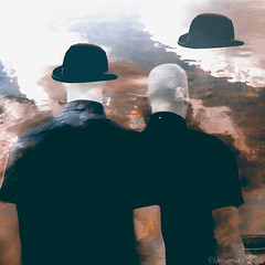 Bodyguards and clouds (Lemon~art) Tags: brown black men texture mannequin hat clouds surreal manipulation bowlerhat bowler bodyguards