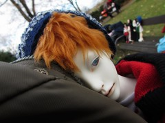 Headshot (tarengil) Tags: park trip blue autumn red white tree nature hat doll outdoor luv bjd resin abjd outing ws dollmore zaoll
