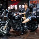 Harley-Davidson motorbike with beautiful, sexy presenter at the 37th Bangkok International Motorshow at IMPACT Challenger Hall in Muang Thong Thani, Nonthaburi, Thailand thumbnail