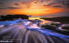 Straight to The Ocean (PhiladelphiaHVAC165) Tags: ocean sunset bali seascape motion beach water canon indonesia photography landscapes rocks waves 500px 500pxprime