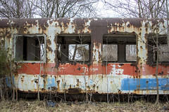 Derailed 1 (paulabarrickman) Tags: road train landscape rusty indiana amtrak gravel derailed linton