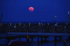 Vollmondaufgang Lbecker Bucht (greenoid) Tags: moon marina mond nacht bucht yachthafen mondaufgang moonrisevollmondblutmondblood moonostseebaltic seagrmitzlbecker