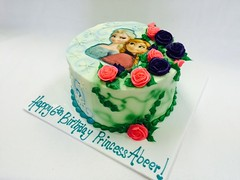 Ana and Elsa; Winter and Spring Birthday Cake (tasteoflovebakery) Tags: birthday flowers winter cake snowflakes ana spring elsa floweres