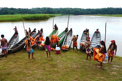 Embera Indians Collecting Life Jackets, Jungles of Panama (Joseph Hollick) Tags: jungle panama embera emberaindians