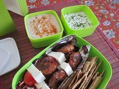Bento #408 (Sandwood.) Tags: food cooking lunch meal bento lunchbox hummus meze skewers tzatziki mezze lavash