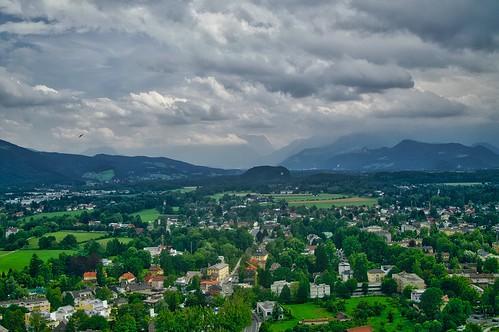View towards the Alps from Hohensalzburg castle, Salzburg, Austria