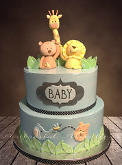 Baby Shower Jungle Cake (Cakes by Ambrosial Affections) Tags: blue baby elephant cute cake shower monkey tiger lion jungle raspberry vanilla giraffe fondant buttercream gumpaste cakedecorating swissmeringue cakeart