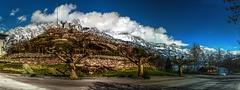 Churfirsten from Car Park (Elliott Bignell) Tags: winter mountain lake snow mountains alps berg schweiz switzerland see vineyard suisse ostschweiz berge alpine alpen svizzera bergsee schee alp weinberg walensee walenstadt gebirgssee walen unterterzen