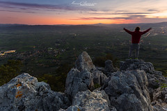Happiness (Manuelo Bececco Photography) Tags: park sunset italy cloud mountain man mountains rock clouds sunrise landscape one landscapes rocks europe italia view it national views only assisi subasio mountsubasio
