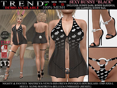 TREND - SEXY BUNNY OUTFIT - BLACK (Jazzy Serra) Tags: bunny panties easter venus secondlife heels playboy isis freya belleza easterbunny physique hourglass tmp nighty maitreya negligee slink sexybunny themeshproject meshbodies