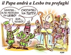 PapaLesbo (Moise-Creativo Galattico) Tags: papa vignette satira francesco attualit lesbo moise profughi giornalismo editoriali moiseditoriali editorialiafumetti