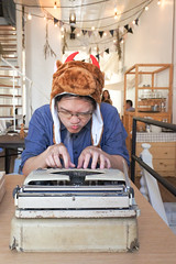 Typewriter or a clerk wearing a buffalo head is working hard, work and business concept (enchanted.fairy) Tags: