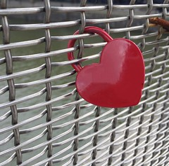 Red heart padlock seen on a bridge in Bristol #red #loveit #heart #lock #padlock #liebe #bristol (dougwoods) Tags: bridge red bristol heart lock romance relationship padlock heartshape instagram