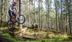 Had a go at some action shots today.. (PANDORA OR LATER) Tags: trees mountain motion bike speed forest landscape scotland movement afternoon aberdeenshire action outdoor air downhill aberdeen fox biking shutter adidas airborn