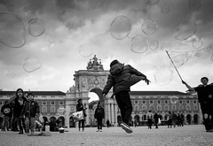 Jump (gheckels) Tags: monochrome dark fun blackwhite jump jumping europe play lisboa lisbon streetphotography bubbles sonyimages sonya7rii