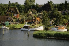 71442821 (emmajmartin) Tags: roof house water grass horizontal germany outdoors day cottage nopeople transportation thatchedroof build stationary moored centraleurope colorimage woodenpost ruralscene germanculture nonurbanscene europeanculture numberofpeople