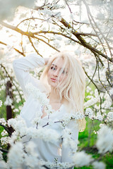 gone (Viktoriya Isaeva) Tags: portrait people woman plants tree cherry 50mm blossom outdoor can sp ou