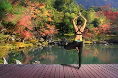 Yoga (Patrick Foto ;)) Tags: park morning autumn portrait people woman tree fall nature water girl beautiful beauty sport yellow japan yoga female standing forest pose season relax happy leaf healthy pretty meditate peace slim exercise outdoor body joy young lifestyle peaceful foliage doing health jp zen meditating balance meditation concept copyspace relaxation fitness position fit wellness kytoshi kytofu