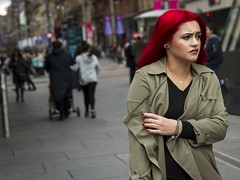 Seeing Red (Leanne Boulton) Tags: life street city uk light shadow red portrait people urban woman color colour detail texture girl face fashion female canon hair 50mm scotland living colorful mood natural bright humanity bokeh expression glasgow vibrant candid culture streetphotography style atmosphere streetlife scene depthoffield human shade portraiture 7d colourful dye gesture society tone facial candidportrait candidstreetphotography