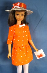 Francie Orange Dot Suit (Debras Closet) Tags: orange white mod francie dollclothes