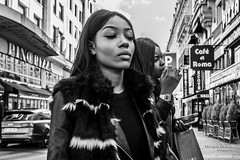 Two panthers in the Champs Elyses (Franois Escriva) Tags: street girls people bw woman white black paris france cute beautiful photo noir candid champs elyses streetphotography olympus nb rue blanc omd