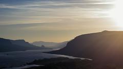 Columbia River Gorge (Aaron Fredericy) Tags: morning sun water oregon sunrise river washington spring ray reflect gorge rays columbiarivergorge