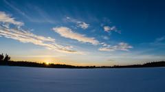 HDR sunset! My 4th image on explore:D (lindblomlinus) Tags: winter sunset sky sun snow landscape pentax sweden bluesky sverige hdr landskap samyang hdrphotography skylovers skyglory