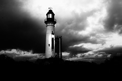 Lighthouse (Ptolemy the Cat) Tags: blackandwhite bw lighthouse monochrome clouds stormclouds queenscliff nikond600 nikonf282470mmlens