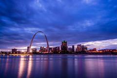St. Louis Arch (Tyler Bliss) Tags: city blue saint st skyline night clouds buildings river mississippi louis illinois long exposure arch dusk stlouis explore missouri hour tylerbliss