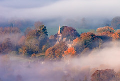 Dorset mist (Anthony White) Tags: morning trees england sunlight mist church nature fog landscape gb northdorsetdistrict