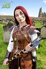 IMG_9399 (Neil Keogh Photography) Tags: red brown white black abbey graveyard leather silver gothic goth blouse axe trousers warrior facepaint viking armour gravestones waistcoat steampunk whitbyabbey whitbygothweekend armguards shoulderguards april2016