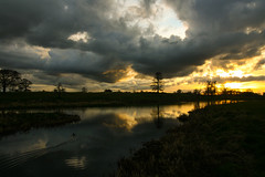 We went down to the River (Adrian Costigan.) Tags: trees ireland sunset sky irish cloud reflection nature water river scenery outdoor scenic carton waterscape kildare