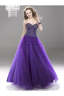 Ball Gown Sweetheart Beaded Sequins Grape Prom Dresses