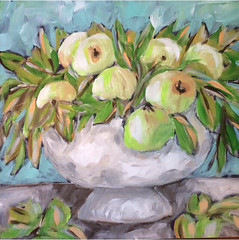 Green Apples in a Bowl (Art by Trish Jones (theOldPostRoad)) Tags: life original green art apple fruit painting jones still trish apples bouquet whimsical