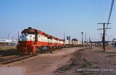 SLSF 952-751-946-956, Tulsa, OK. 9-06-1980 (jackdk) Tags: railroad oklahoma train railway locomotive cherokee freight sd45 emd slsf cherokeeyard emdsd45