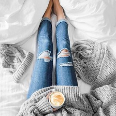 (waluntain) Tags: winter holiday coffee girl beautiful beauty fashion amazing cool bed pants legs tea style jeans rest inbed wintertime capuccino baggy