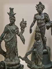 A large and small statuette of Isis-Fortuna along with a figure of Helios  from a Roman Lararium (household shrine) from Boscoreale, Italy 1st century CE (mharrsch) Tags: italy sculpture statue bronze ancient worship roman religion maryland baltimore figurine fortuna lares statuette waltersartmuseum helios lararium boscoreale 1stcenturyce penates householdgods mharrsch householdshrine isisfortuna