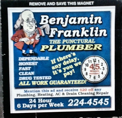 Punctural?! (Eyellgeteven) Tags: blur sign advertising blurry funny humorous error humor cartoon plumbing business caricature mistake plumber typo benjaminfranklin magnet misspelled funnysign advertisment magnetic advertise plumbers screwup mispelling typographicalerror plumbingbusiness eyellgeteven
