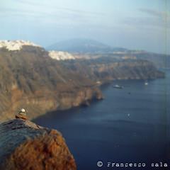 Oia (100% made in Friuli) Tags: sunset panorama 120 6x6 film colors analog vintage landscape tramonto kodak santorini grecia colori oia holydays vacanza paesaggio 100asa analogica kiev88 analogico volna rullo