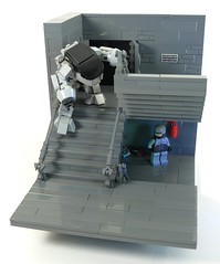 The Fall of ED-209 (Grantmasters) Tags: lego minifig robocop droid ed209 moc