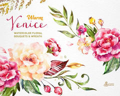 Warm Venice. Watercolor floral Bouquets and Wreath, popies, roses, wedding invitation, yellow, greeting card, diy clip art, flowers, clipart (octopusartis) Tags: flowers wedding roses art floral digital watercolor cards diy quote clip invitation clipart watercolour invite peonies bouquets