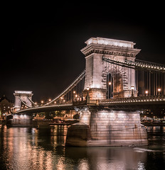 Szchenyi Chain Bridge - Late Night View // Budapest (Suraj Bajaj) Tags: travel bridge reflection water night river europe view latenight chain late chainbridge szchenyi travelphotography szchenyichainbridge