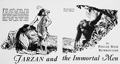 """Art by Frank Hoban from Part 1 of """"Tarzan and the Immortal Men"""" by E. R. Burroughs in The Blue Book Magazine (Oct., 1935) (lhboudreau) Tags: sf fiction art illustration magazine monkey gorilla drawing lion illustrations drawings burroughs story fantasy pulpfiction scifi ape novel sciencefiction pulp magazines apeman tarzan pulpmagazine serial magazineart part1 1935 edgarriceburroughs hoban fantasyart bluebook firstedition firstappearance pulps serialized erburroughs pulpart pulpmagazines thebluebook sciencefictionnovel sciencefictionstory sciencefictionstories theapeman fictionstory vintagepulpmagazine fictionnovel bluebookmagazine october1935 frankhoban thebluebookmagazine tarzanandtheimmortalmen vintagepulpmagazines tarzansquest immortalmen"""