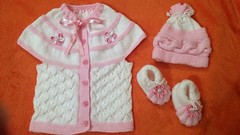 White and Pink Baby Crochet Set (dobromiraivanova) Tags: baby girl hat photo sweater crochet knit newborn cardigan slippers prop pompom myhandmadepassion