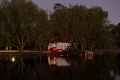 Early Start (blachswan) Tags: water reflections lights australia victoria ballarat earlystart lakewendouree weedcutter